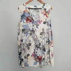 Spense woman floral sleeveless blouse top